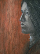 """Eyes of Sorrow"",  Native American Indian profile portrait drawing"