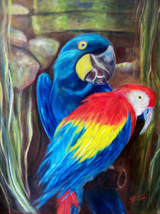 """Birds of a Feather"",  pair of colorful African Macaws"