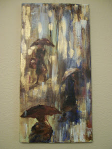 """A Moment in Paris"" rainy street scene  SOLD!"