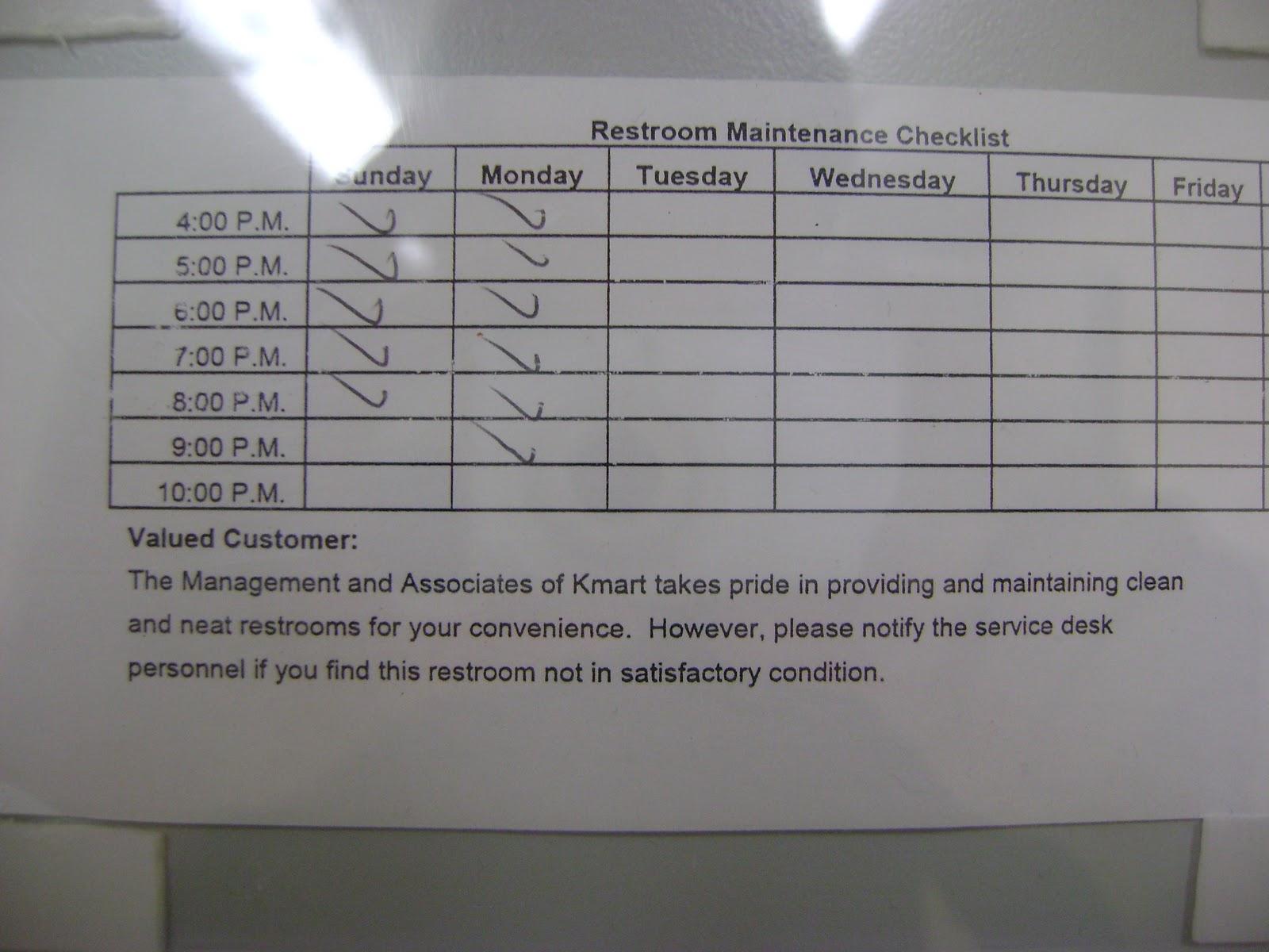 Washroom Checklist Format. Stunning Washroom Cleaning Check List ...