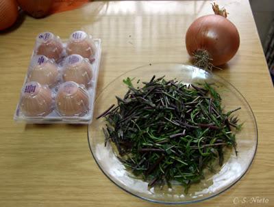 Ingredientes para hacer la tortilla de espárragos