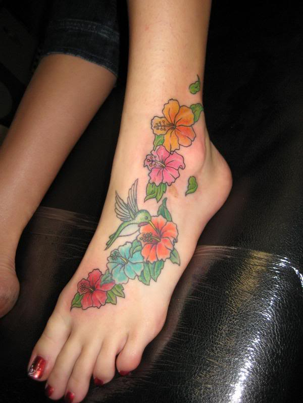 hibiscus flowers tattoos. pictures of flower tattoos.