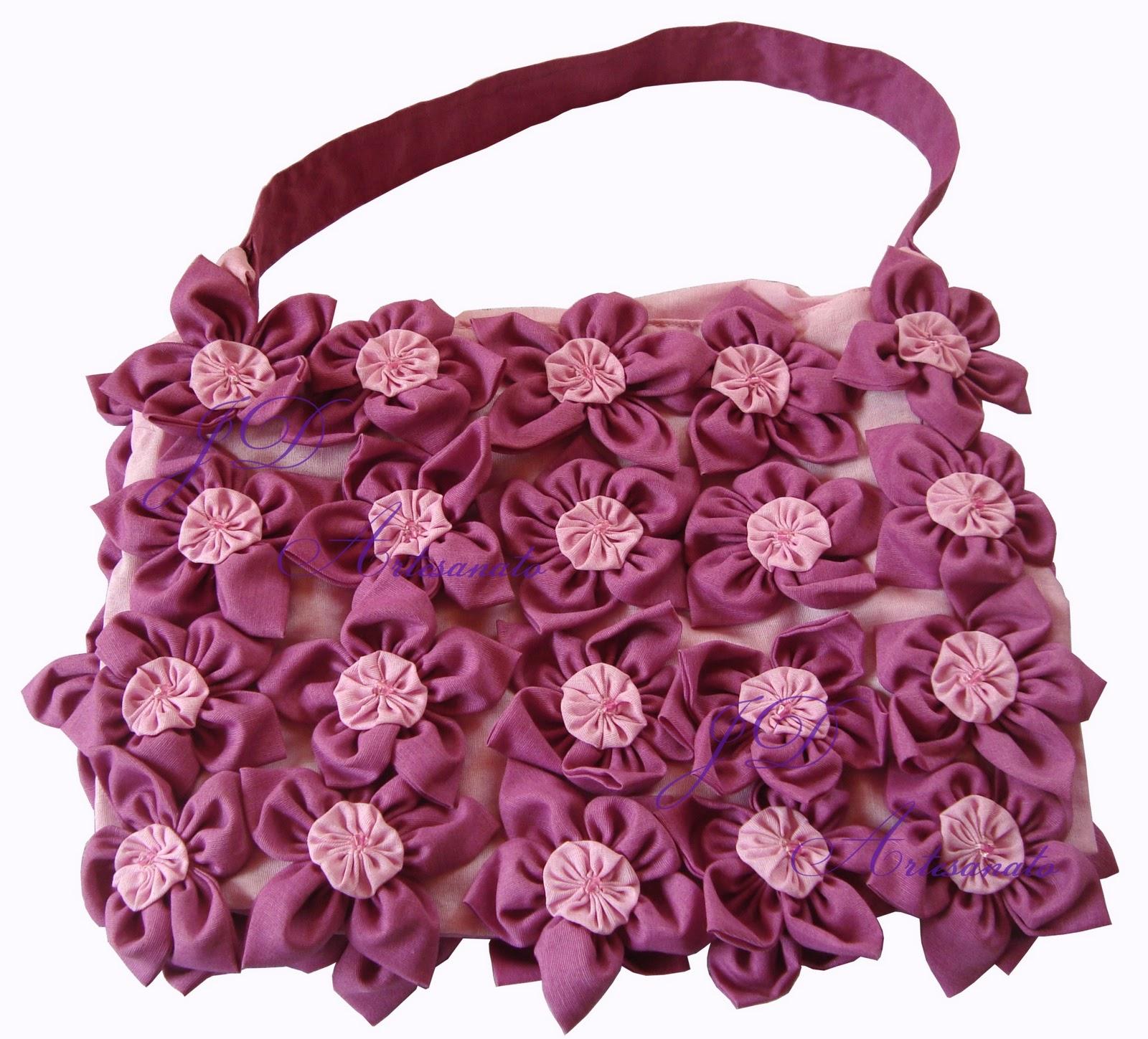 Bolsa De Fuxico Artesanato : Jd artesanato bolsa de fuxico com flor
