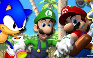 Sonic, Mario y, en el centro, Luigi