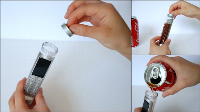 Coca Cola-Powered Mobile Phone by Daizi Zheng, Cell Phone that runs on coke soda, Sugar-powered gadgets, bio-battery
