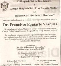 Sentido fallecimiento del Doctor Francisco Eguiarte Vázquez