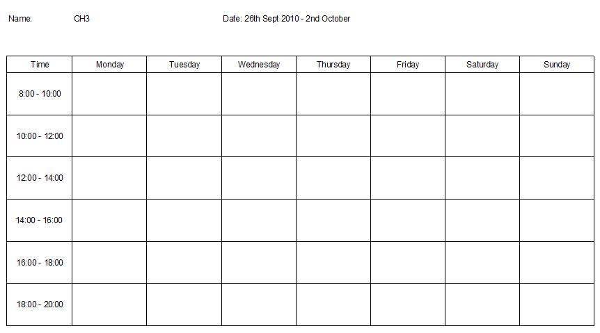 Weekly Revision Timetable  BesikEightyCo