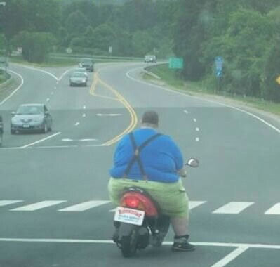 Fat Guy On Bike Pic. sweet sugar candy!