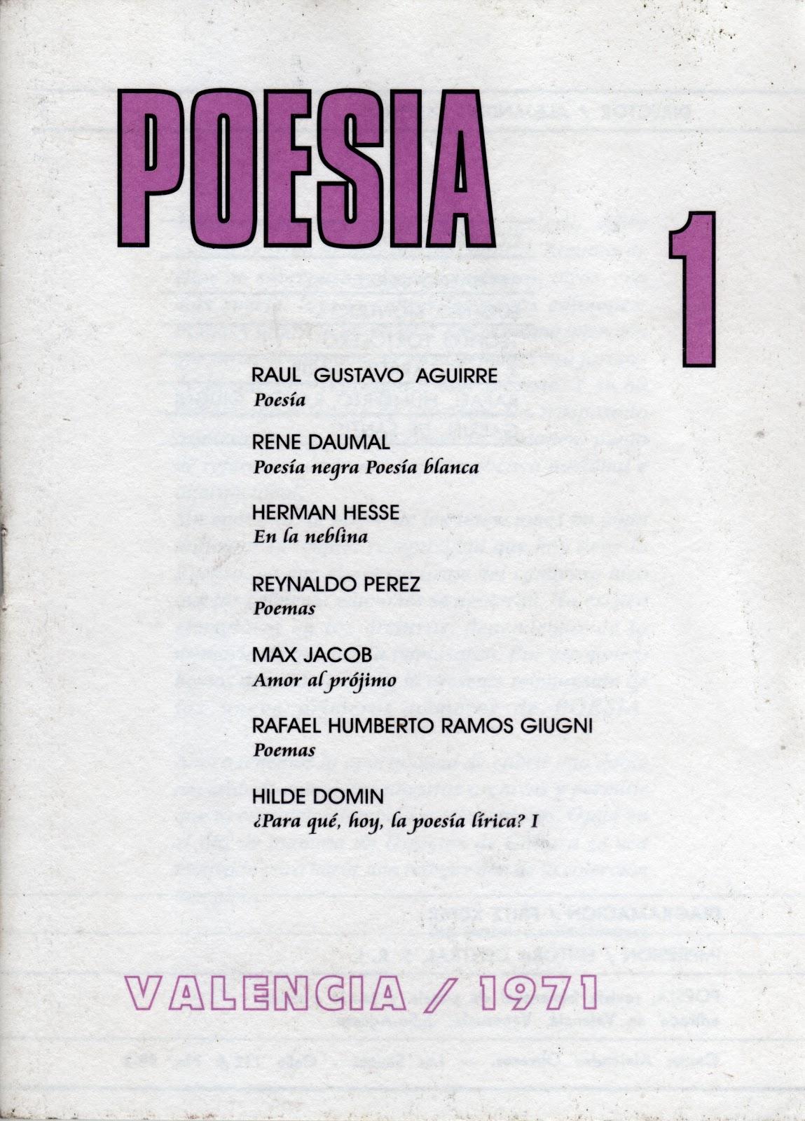 """DE LA REVISTA """"POESÍA"""" EN EL PANORAMA POÉTICO VENEZOLANO DE"""