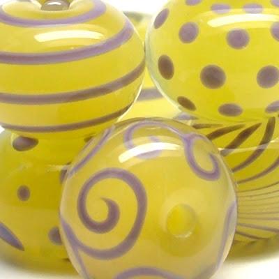 Yellow Lampwork Glass Beads