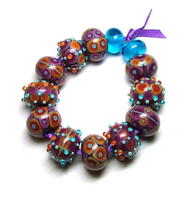 Orange & Blackcurrant Lampwork Beads