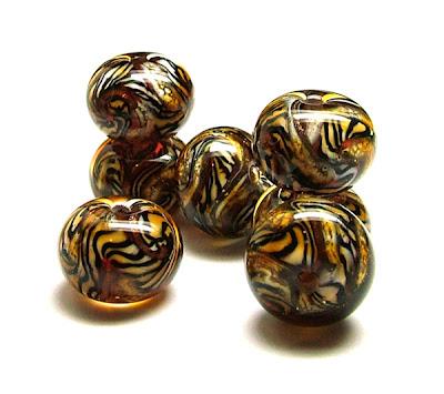 Lampwork Tiger Beads