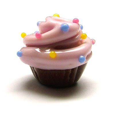 My head is full of cupcake bead ideas! Lampwork Glass Cupcake Bead