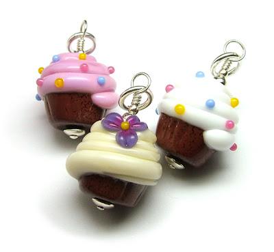 Lampwork Cupcake Pendants