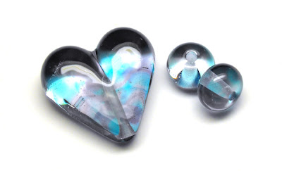 Lampwork Glass Heart Bead Trio