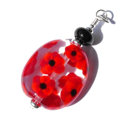Lampwork Poppy Pendant