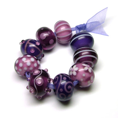 Purple Lampwork Glass Beads