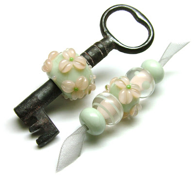 Lampwork Glass Antique Key Bead