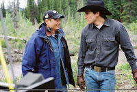 Jake Gyllenhaal and Ang Lee on the Brokeback Mountain set