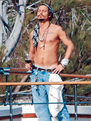 Johnny shirtless - Johnny Depp