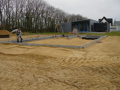 Fundamentet er støbt og sokkelblokke påmuret sandet rettes af for