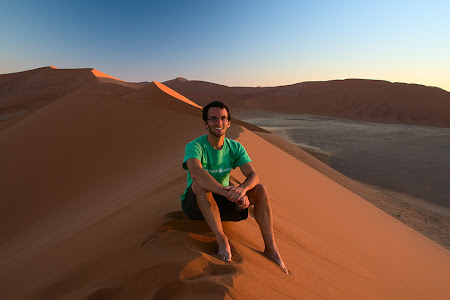 Sitting on top of Dune 45, Namib-Naukluft National Park, Namibia © Matt Prater