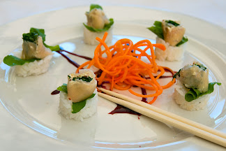 Smoked crocodile sushi at The Blowfish restaurant in Bloubergstrand, Cape Town, South Africa © Matt Prater