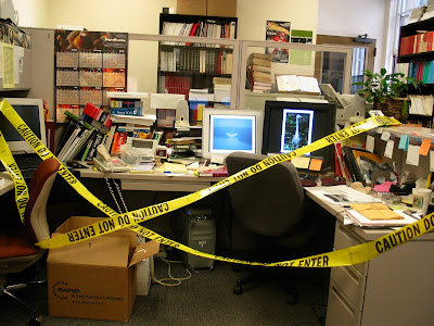 photo of the author's office in 2004 after he published the annual catalog