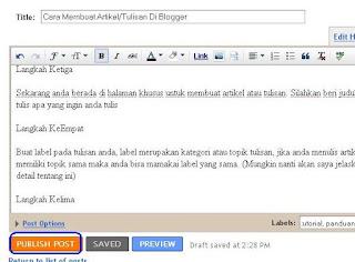 Cara Membuat Artikel - Membuat Tulisan Di Blogger 4