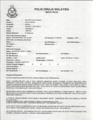 """Satu daripada puluhan laporan polis yang dibuat terhadap Nizar """"The"""