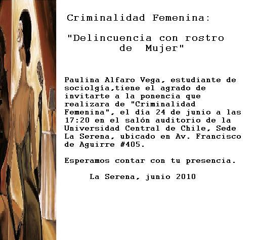 """Invitación Ponencia """"Criminalidad Femenina"""""""