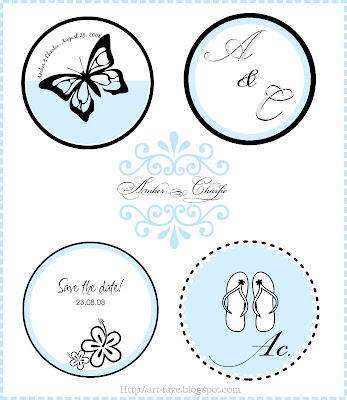 Blue and Black Wedding Monograms