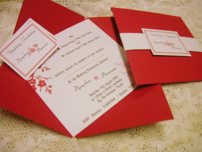 Red and White Wedding Invitation