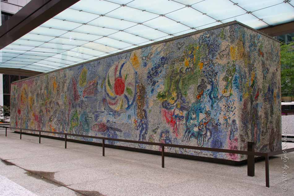 Public art in chicago exelon plaza four seasons by for Chagall mural chicago