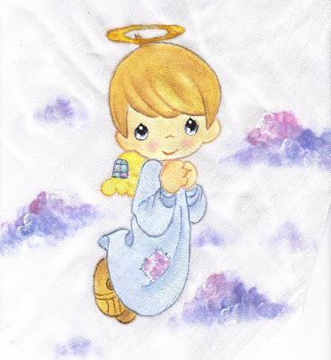 pintura em tecido infantil fralda anjinho