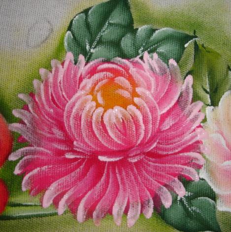 como pintar crisantemo em tecido passo a passo