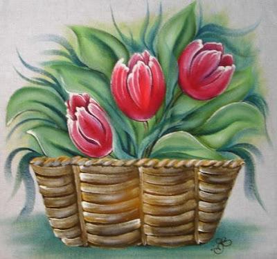 pintura em tecido cesta de tulipas