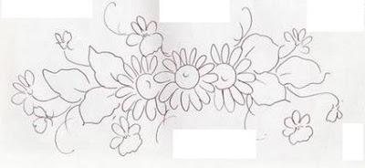 pintura em tecido flores molde para pintar