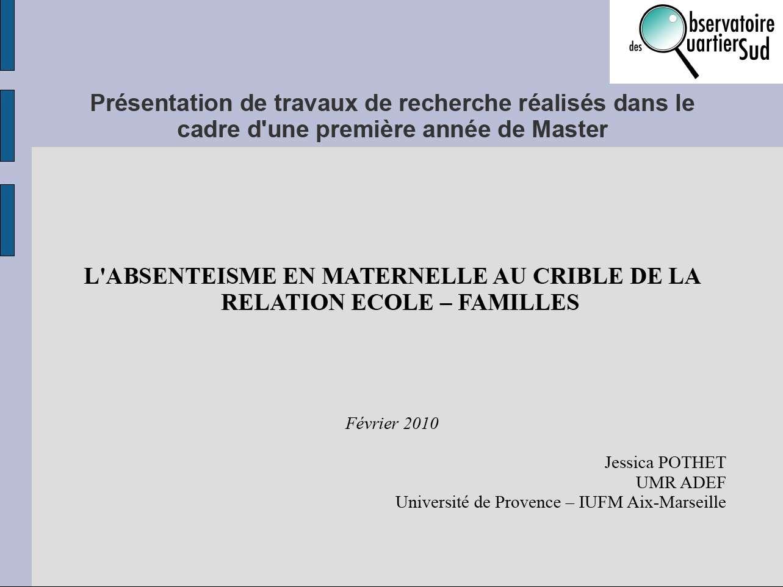 Observatoire des quartiers sud marseille f vrier 2010 - Universite de provence bureau virtuel ...