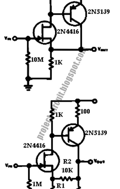 free project circuit diagram  high impedance low capacitance buffer  amplifier circuit