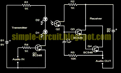 simple circuit design simple ir audio transmitter circuitpna1605f, bpw77na or bpw85 and the transistor is using bc548 this is the figure of the complete circuit of the simple ir audio transmitter circuit