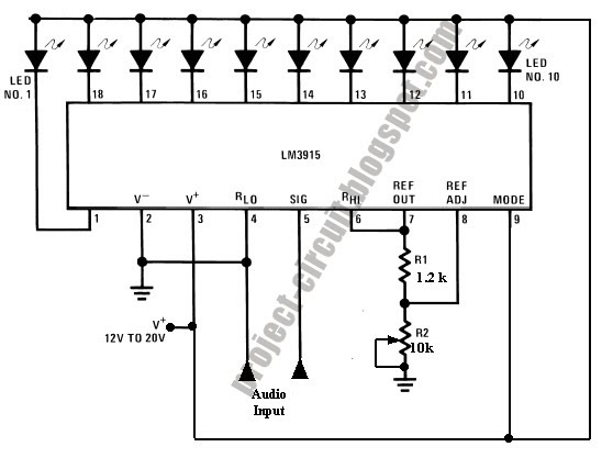 free project circuit diagram  simple audio level meter