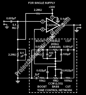 free project circuit schematic october 2009this circuit is built by ca3140 ic ca3140 is a op amp for audio signal this is the figure of the circuit the baxandall tone control
