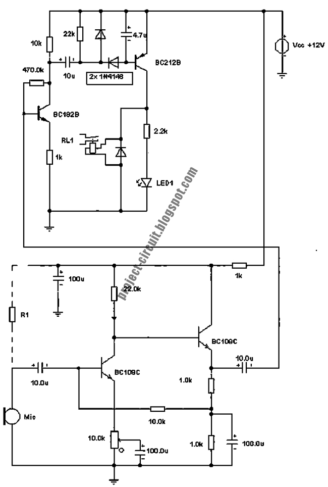 free project circuit diagram  sound operated relay