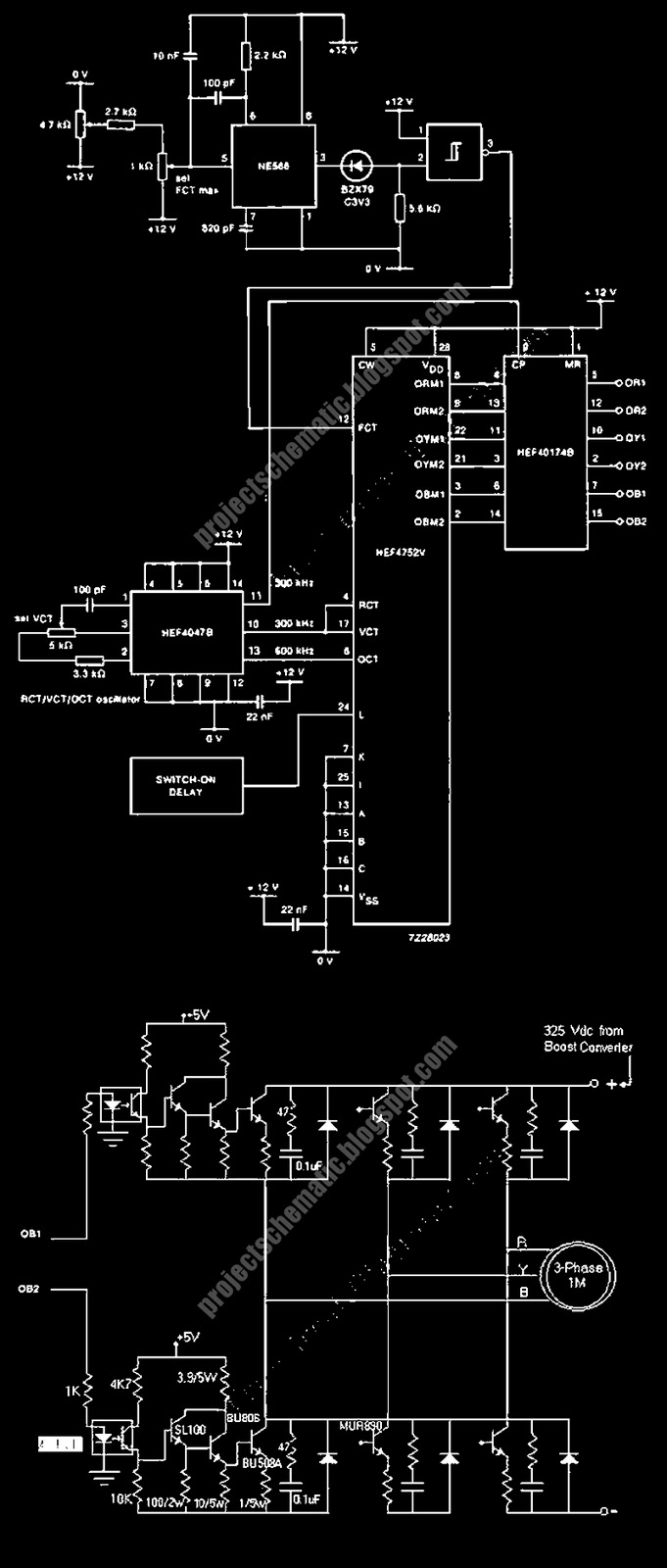 Free project circuit schematic 3 phase ac motor speed 3 phase motor speed control