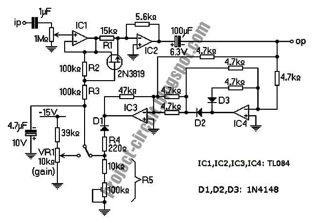 electronics technology  tl084 audio compressor  agc  circuit