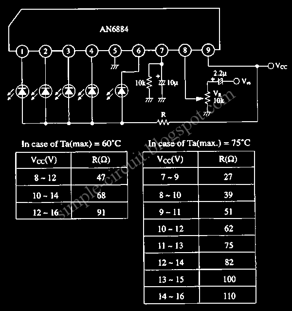 simple circuit design simple logarithmic led bar display circuitthe output current for each led will be constant at 15ma, suitable for most led types this is the figure of the circuit;