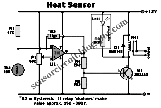 sensor schematic  heat sensor circuit based on lm741
