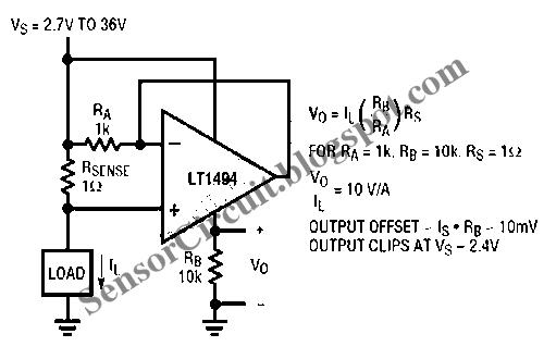 sensor schematic  self powered current sensing circuit