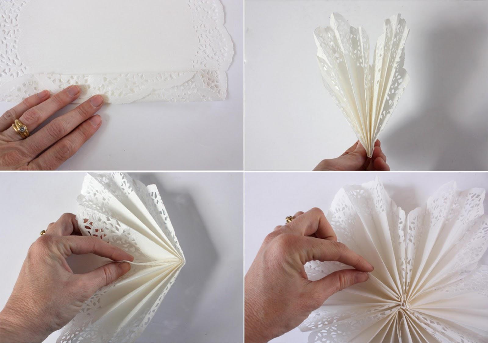 Adornos de navidad con blondas o mantelitos de papel car - Estrellas de papel ...